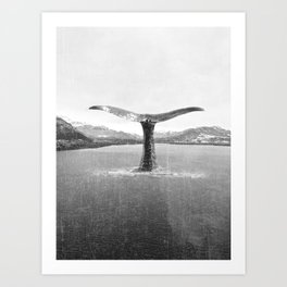 Whale In A French Lake in Black And White Art Print