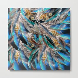 Fashion pattern with blue feathers. Trendy design Metal Print