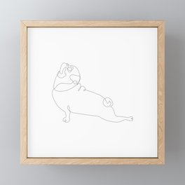 One Line Pug Upward Facing Dog Framed Mini Art Print