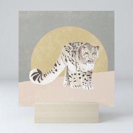 Snow Leopard Yellow Grey Mini Art Print