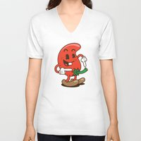 chile V-neck T-shirts featuring El Chile by El Monero