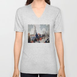 Vintage Immigrants & Statue of Liberty Illustration (1917) Unisex V-Neck