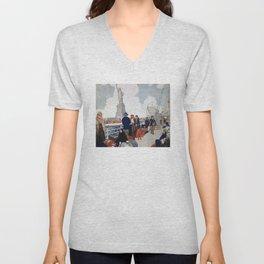 Vintage Immigrants & Statue of Liberty Illustration (1917) Unisex V-Neck