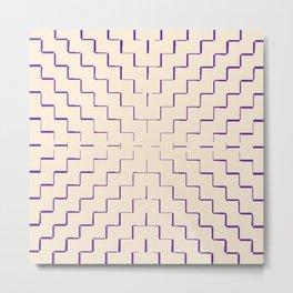 Antique White w/American Violet Zigzag Lines Metal Print