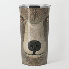 brown bear woodland animal portrait Travel Mug