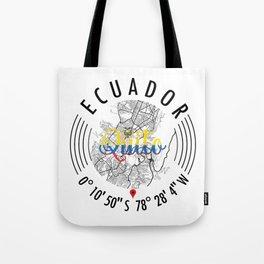 Quito, Ecuador Road Map Art - Earth Tones Tote Bag