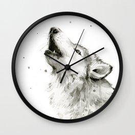 Wolf Howling Wall Clock
