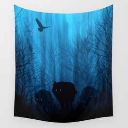 Wolf Pass: Cerulean Mist Wall Tapestry