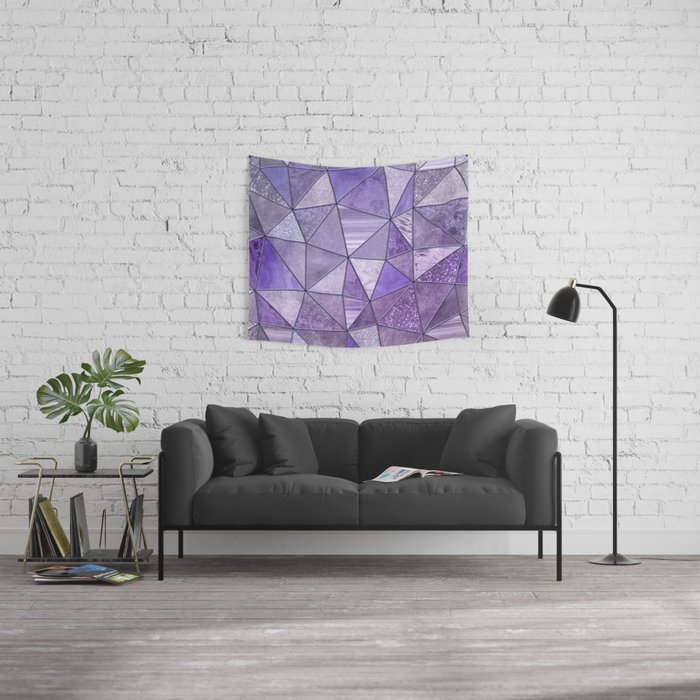 Purple Lilac Glamour Shiny Shimmering Patchwork Wall Tapestry