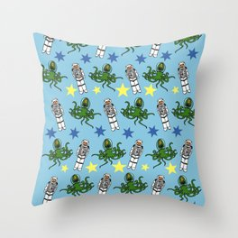 Aliens & Astronauts pattern Throw Pillow