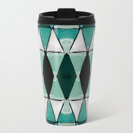 Art Deco Triangles Blue Travel Mug