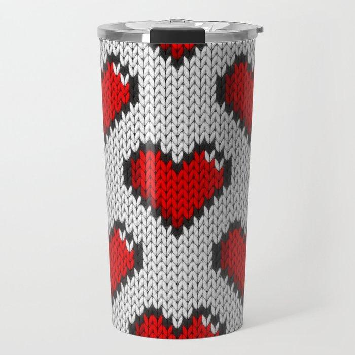 Knitted Heart Pattern White Travel Mug By Knittedcake Society6