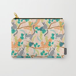 Lemurs in a Peach Jungle Carry-All Pouch