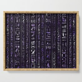 Amethyst and Silver Egyptian hieroglyphics pattern Serving Tray