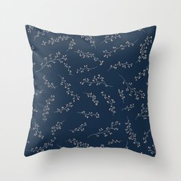 Berry Branches Pattern in Blue and Pink Throw Pillow