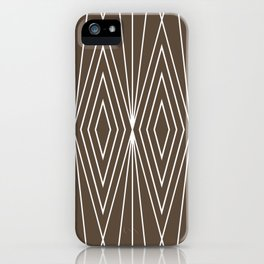 Simple Modern Diamond Lines Brown iPhone Case