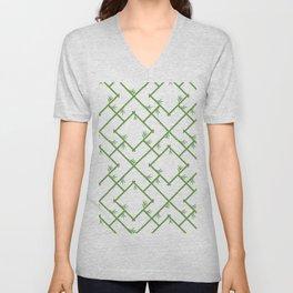 Bamboo Chinoiserie Lattice in White + Green Unisex V-Neck