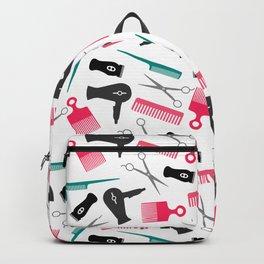 Pink Black Teal Hair Stylist Tools Backpack