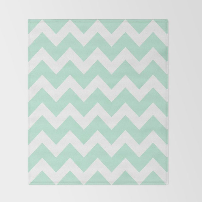 Chevron Mint Green White Throw Blanket by beautifulhomes Society6