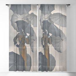 Vintage Fashion Goldenrod Suit Sheer Curtain