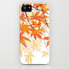 orange maple leaves watercolor iPhone Case
