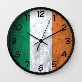 Distressed Irish Flag Wall Clock
