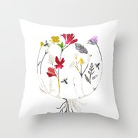 drum Throw Pillows featuring Calico Drum by Ellie Knight Design & Illustration