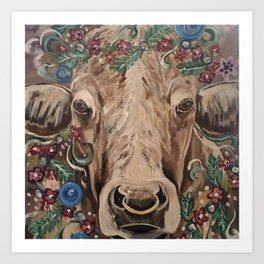Harold the Cow with Flowers Farmhouse Style Original Painting Print Art Print