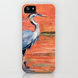 Great Blue Heron in Marsh iPhone Case