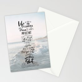 Life is Like a Camera Travel Photography Quote // Beach + Ocean Waves Background Stationery Cards