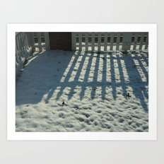 Snow Fence Reflection Art Print