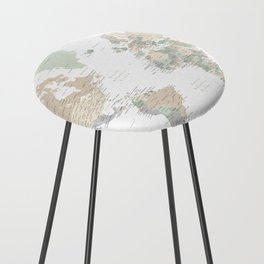 """World map with cities, """"Anouk"""" Counter Stool"""