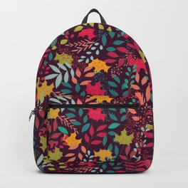 Autumn seamless pattern with floral decorative elements, colorful design Backpack