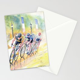 Colorful Bike Race Art Stationery Cards