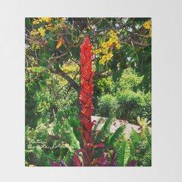 Alpinia purpurata – Red Ginger Flower, Nature in Bogota, Colombia Throw Blanket