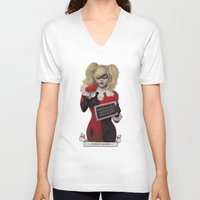 harley quinn V-neck T-shirts featuring Harley quinn by Sara Meseguer