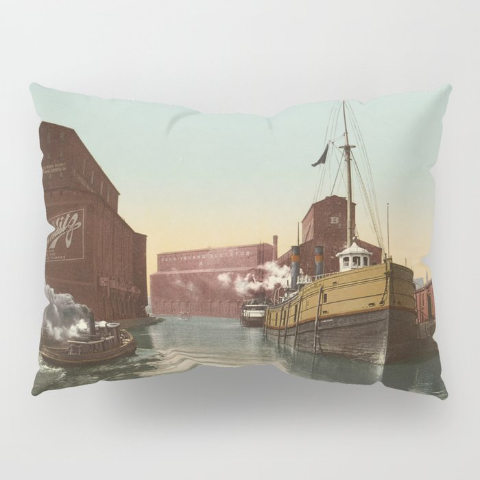 South Branch of the Chicago River at 14th Street 1900 Pillow Sham