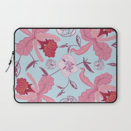 Modern vintage elegant floral pattern blue Laptop Sleeve