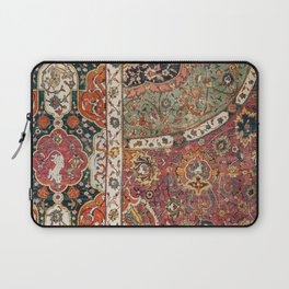 Persian Medallion Rug II // 16th Century Distressed Red Green Blue Flowery Colorful Ornate Pattern Laptop Sleeve
