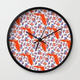 Florida University silhouette orange and blue pattern sports football college gators gator fan Wall Clock