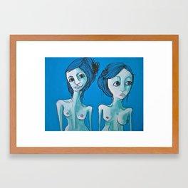 two blue women Framed Art Print