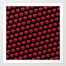 Kisses heart (background black) Art Print