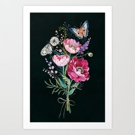 Butterfly Floral Bouquet Art Print