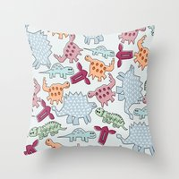 dinosaurs Throw Pillows featuring Dinosaurs  by MadexDesigns