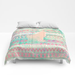 Whimsical Cat, Pink Turquoise Girly Aztec Pattern Comforters