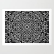 Most Detailed Mandala! Black and White Color Intricate Detail Ethnic Mandalas Zentangle Maze Pattern Art Print