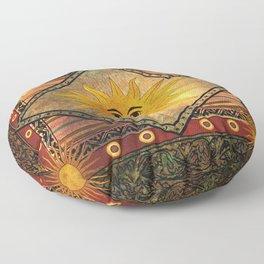 Sun Hippie Bohemian Vintage Festival Retro Floor Pillow