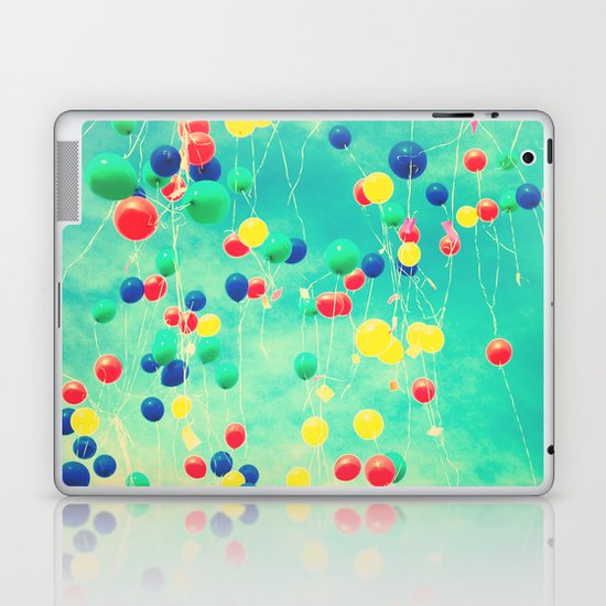 Let your wishes fly (Colour balloons in vintage - retro turquoise sky) Laptop & iPad Skin