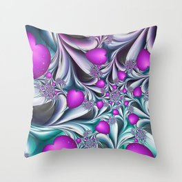 Love makes happy Fractal Art Throw Pillow