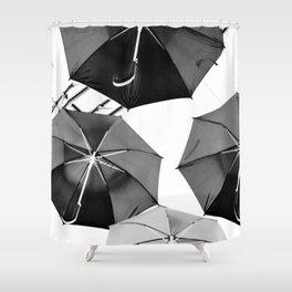 Black Umbrellas Shower Curtain